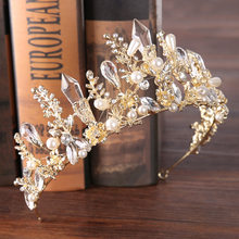 Luxo novo pageant bandana tiaras aaa zircon cúbico ouro cor coroa acessórios para cabelo feminino casamento cristal jóias de cabelo