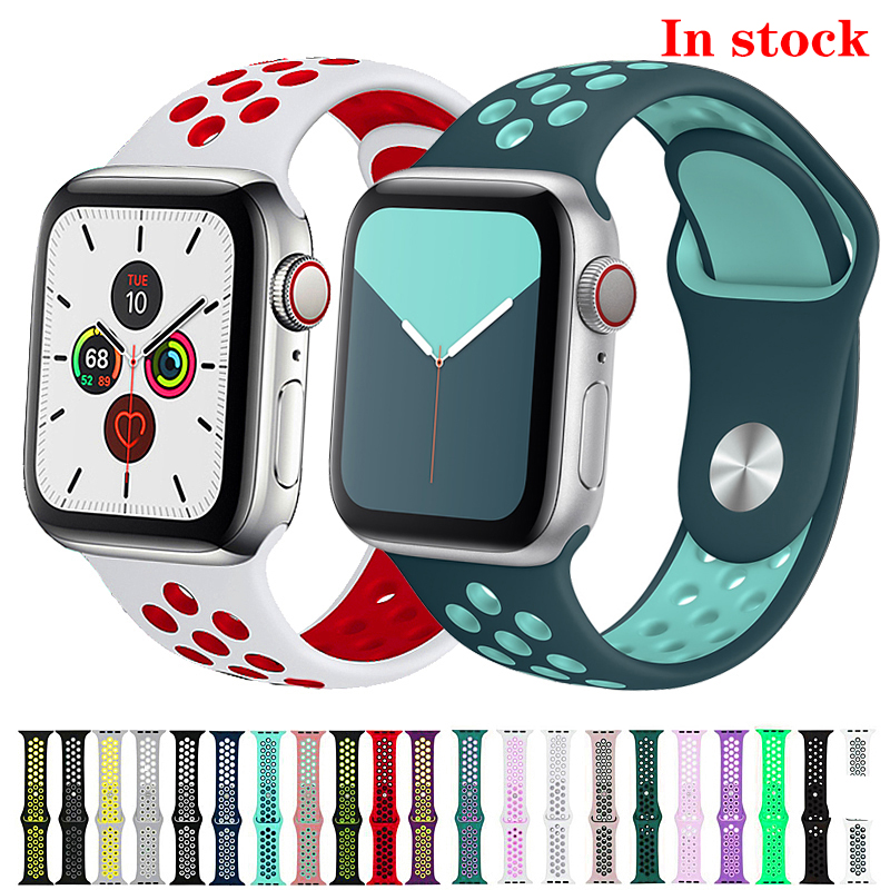 Sport Strap For Apple Watch Band Iwatch Band 42mm 38 Mm 44mm 40mm Silicone Watchband Bracelet Correa Apple Watch 5 4 3 2 1 38 44