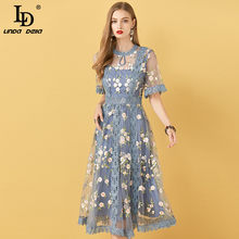 Ld linda della boho verão designer de moda vestido feminino flores bordados rendas malha elegante festa de férias senhoras vestidos midi