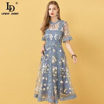LD LINDA DELLA Boho Summer Fashion Designer Dress Women Flowers Embroidery Lace Mesh Elegant Holiday Party Ladies Midi Dresses