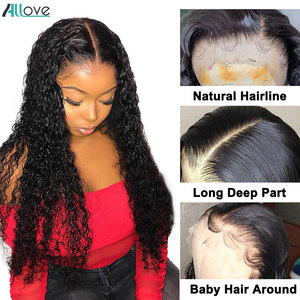 Image 2 - Allove Deep Wave Lace Front Wig Pre Plucked 13X4 Lace Front Human Hair Wigs For Women Malaysian Deep Curly Wig 13X6X1 Lace Wig