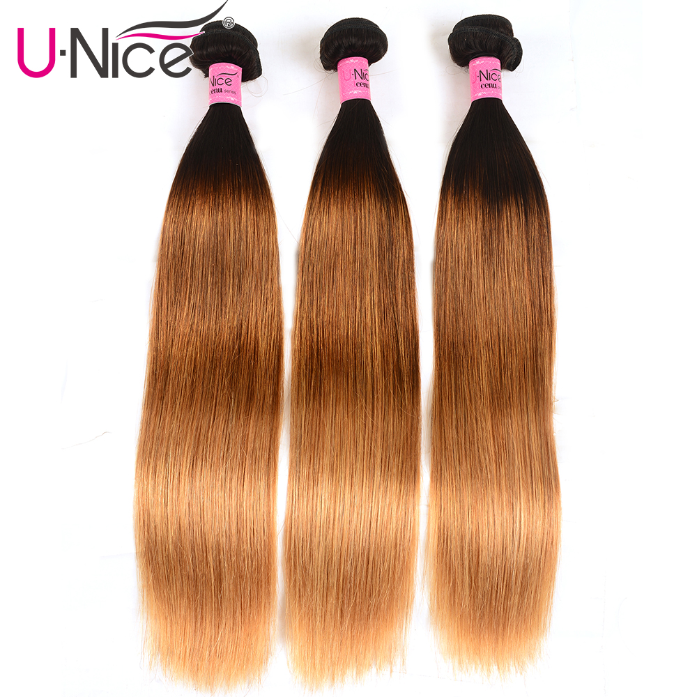 UNICE HAIR 3 Pcs Weft Peruvian Straight Hair Color T1b/4/27 Ombre Hair Bundles 16-26inch Remy Human Hair Weaves Free Shipping