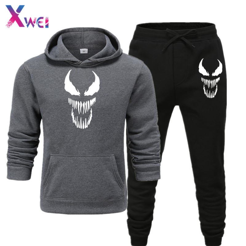 New Fashion Men's Sets Hoodie And Pants Sweatsuit Male Sportswear Tracksuit Men Set Sporting Suit Track Sweat Print  JacketsXWEI