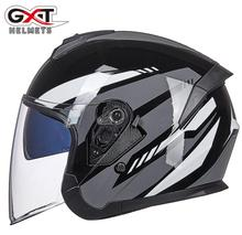 GXT New Half Face Motorcycle Helmet Men Moto Helmet Scooter Double Lens Biker Motorbike Racing Riding Helmet for 4 Season