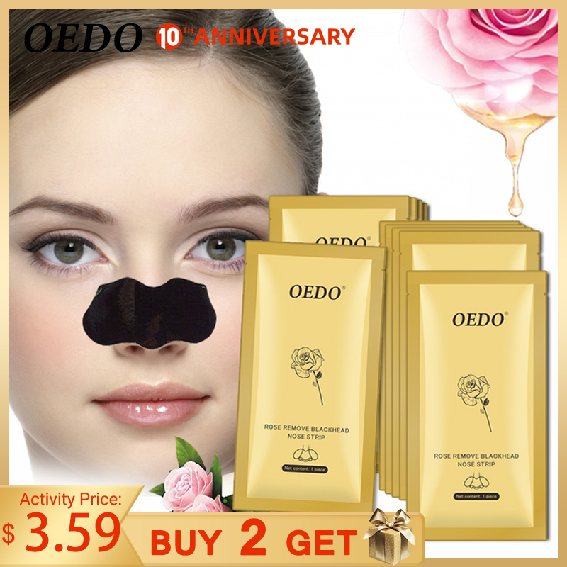 Rose Peptides Blackhead Remover Nose Mask Acne Treatment Pore Strip Black Mask Peeling Black Head Deep Clean Skin Care Face Mask