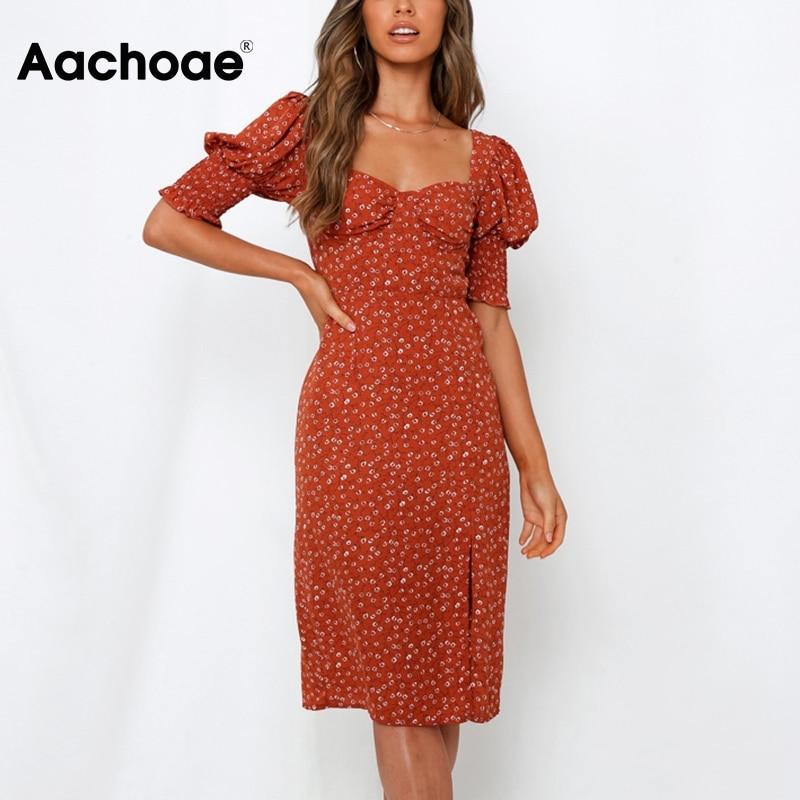 Aachoae Fashion Floral Printed Knee Length Party Dress Women Puff Half Sleeve Elegant Dresses Split Backless Holiday Midi Dress