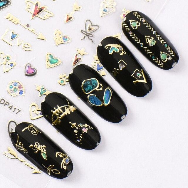 Очаровательные 3D цветные наклейки для ногтей, украшения для ногтей, дизайн ногтей, слайдеры, украшение для маникюра «сделай сам»