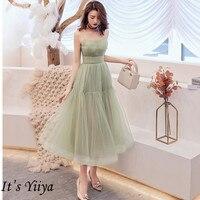 It's Yiiya Cocktail Dress 2019 Elegant Sweetheat Green Women Party Dresses Plus Size Sleeveless Tea length Robe De Soiree E780