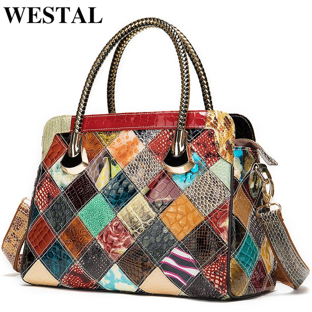 WESTAL Womens Genuine Leather Handbags Women's Leather Luxury Handbags Women Bags Designer Top-handle Bags Messenger Bag Female