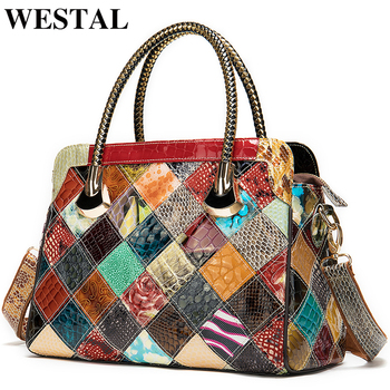 WESTAL womens genuine leather handbags women's leather luxury handbags women bags designer top-handle bags messenger bag female [hely coptar] genuine grain leather designer fashion trapeze style top handle women bag khaki high quality luxury designer real