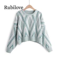 Rubilove 2019 Autumn Winter Women Knitted Sweater Pullover Casual Loose Short Female Sweater Jumper Pull Femme цена и фото