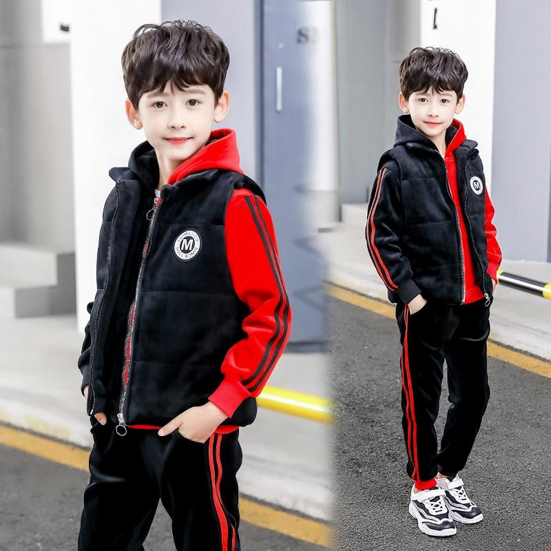Vêtements enfants 2019 hiver enfant en bas âge double velours rouge noir épissure garçons veste pantalon gilet 3 pièces ensemble enfants garçons à capuche ensemble