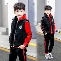 Children Clothing 2019 Winter Toddler double velvet red black splice boys jacket pant vest 3pcs set Kids boys hooded set