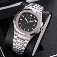 Luxury watch mens mechanical watches sapphire glass black dial stainless steel bracelet sports watch Glide sooth second hand w