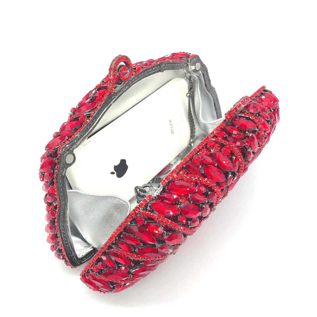 Bag For Women New Red Rhinestone Crystal Clutch Purse Women's Floral Gemstone Diamond Party Chain Bag Prom Shoulder Handbags-BeeInFly