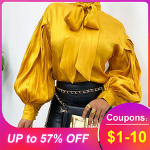 2020 Giner Yellow Standard Long Sleeve Blouse Lantern Sleeve Summer Spring New L