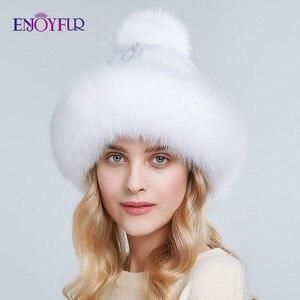 Image 4 - ENJOYFUR Doğal vizon kürk şapkalar kadınlar kış kalın sıcak tilki kürk kapaklar ponpon ile moda rus tarzı kasketleri