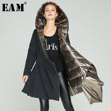 [EAM] Loose Fit Down Irregular Hem Pocket Jacket New Hooded Long Sleeve Warm Women Parkas Fashion Tide Autumn Winter 2019 1A362(China)