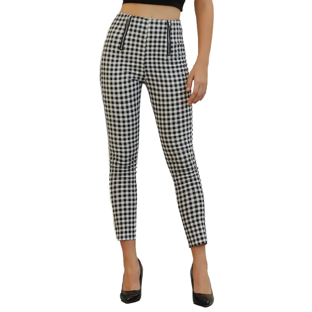 Echoine Female Trousers Black And White High Waist Plaid Slim Pants For Women Streetwear Retro Ladies Classic Clothes Sweatpants