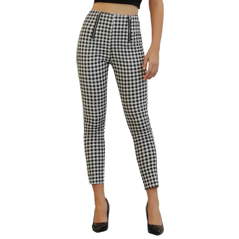 Echoine kadın pantolon Siyah ve beyaz yüksek bel ekose ince pantolon kadınlar için streetwear Retro bayanlar klasik giyim sweatpants