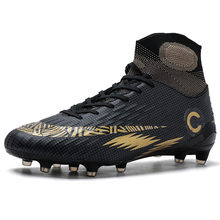 Buty piłkarskie do użytku w pomieszczeniach mężczyźni wysokie buty treningowe do piłki nożnej Turf AG knagi trampki dla dzieci oryginalne przeciwpoślizgowe korki Futsal