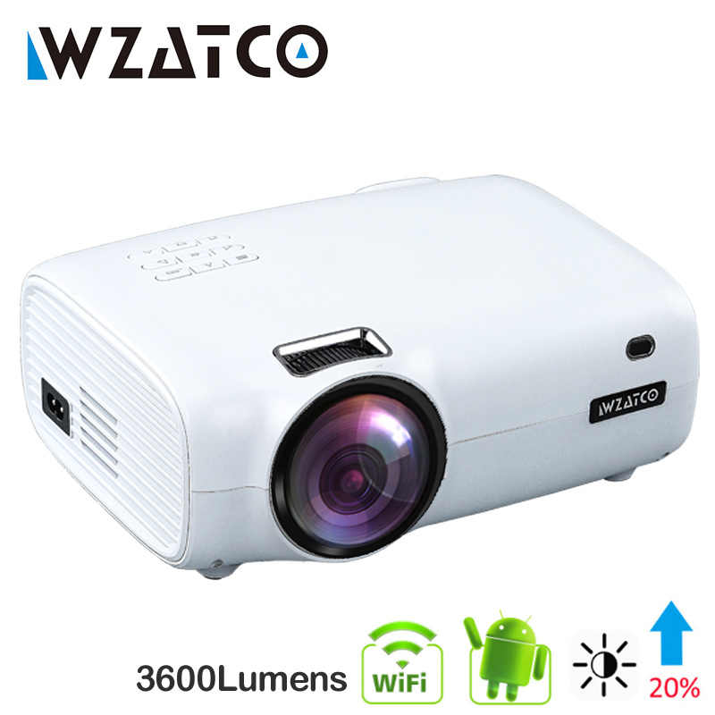 WZATCO E600 Android 9.0 Smart Wifi Portable Mini LED Proyektor Mendukung Full HD 1080P 4K AC3 Video Home teater Beamer Projector