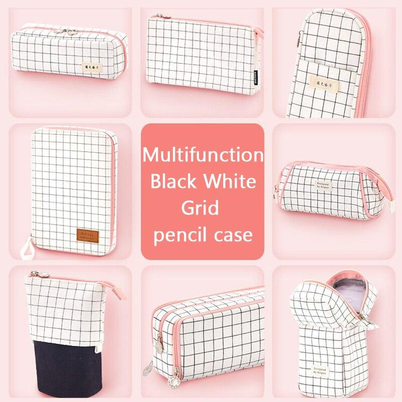 Black White Grid Korea Cute Pencil Case Big Pencil Box Kawaii Zipper Multifunction Storage Bag Estuche Escolar School Supplies