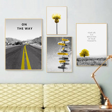 Quotes Wall Art Canvas Painting Nordic Road Posters And Prints Grassland Landscape Picture Decoration Living Room Home Decor