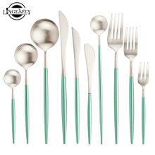 Dinnerware Steel Silver Cutlery Set Green Silver Silverware Set Teaspoons Dessert Spoons Tableware Forks Knives Spoons Dropship(China)