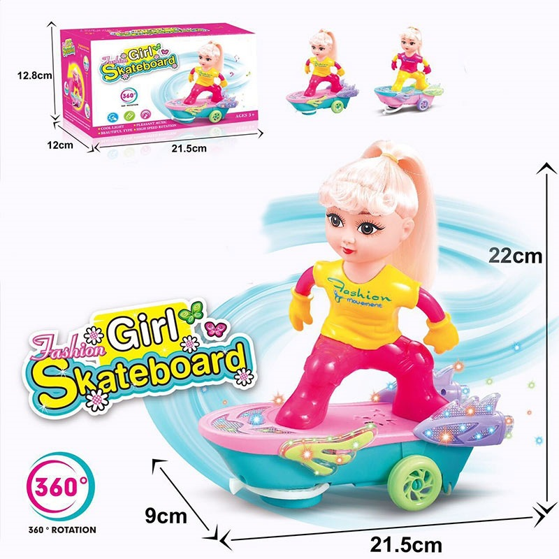 Children'S Educational Electric Scooter Toy Electric Sway Rotating Skateboard GIRL'S Doll Universal Scooter