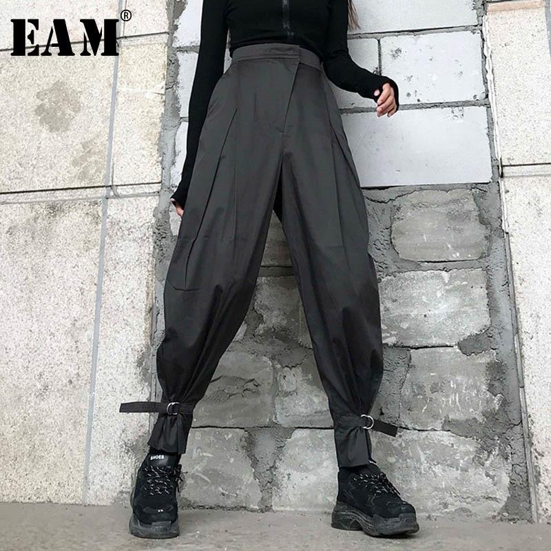[EAM] High Waist Black Irregular Split Long Harem Trousers New Loose Fit Pants Women Fashion Tide Spring Summer 2020 1W418