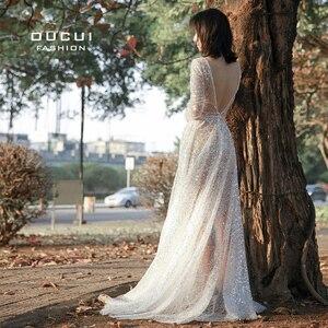 Image 5 - Oucui Robe De mariée élégante, en paillettes, Illusion brillante blanche, style Boho, Robe De mariée transparente, style bohème, 2020
