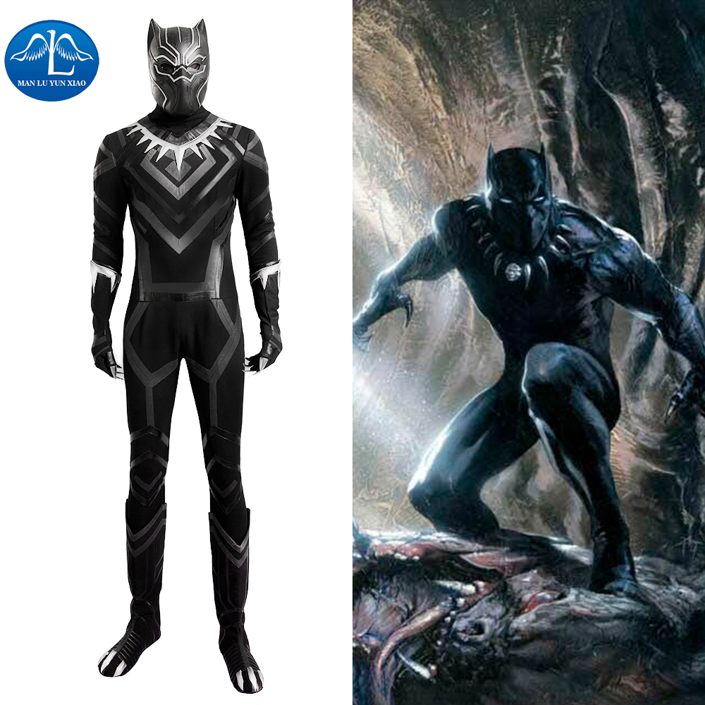 Black Panther Costumes Captain America Civil War TChalla Halloween Cosplay Costume Adult Men