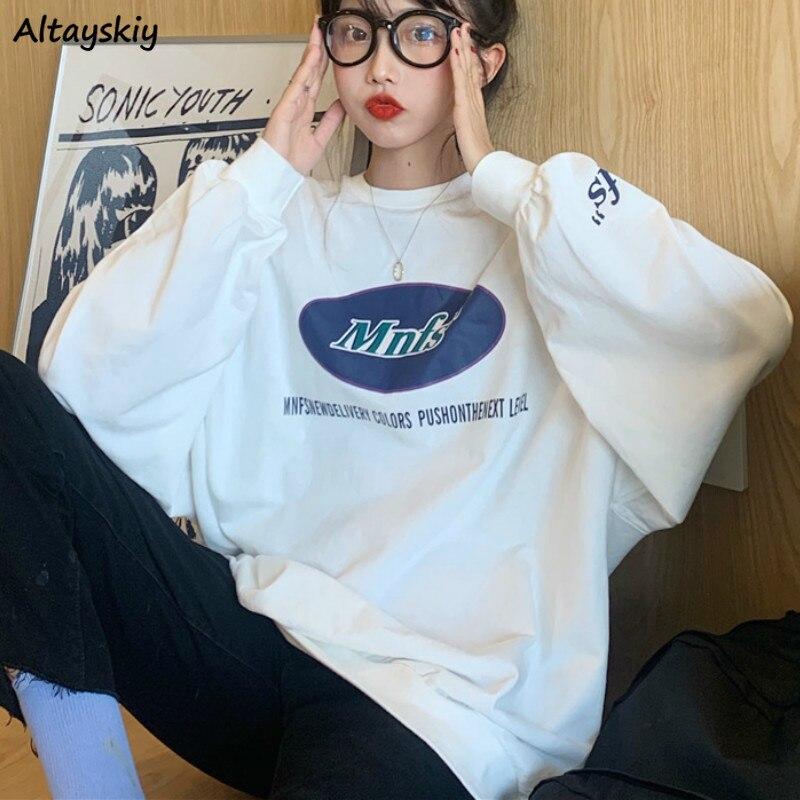 Hoodies Women O-neck Printed Loose Long Sleeve Pullovers Sweatshirts BF Ulzzang Korean Fashion Harajuku Streetwear Womens Daily