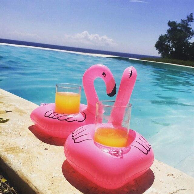 Portavasos inflable con forma de flamenco y unicornio para piscina, soporte flotante para baño, piscina, juguete, decoración para fiestas, posavasos para Bar
