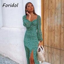 Vintage manga comprida vestido de impressão verde primavera outono lado fenda vestido longo maxi folha impressão boho vestido vestidos vestido francês feminino