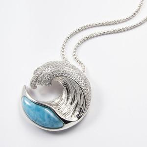 Image 5 - Hot Selling 925 Sterling Silver Natural Dominica Larimar Stone Wave Pendant Necklace for Women Gift