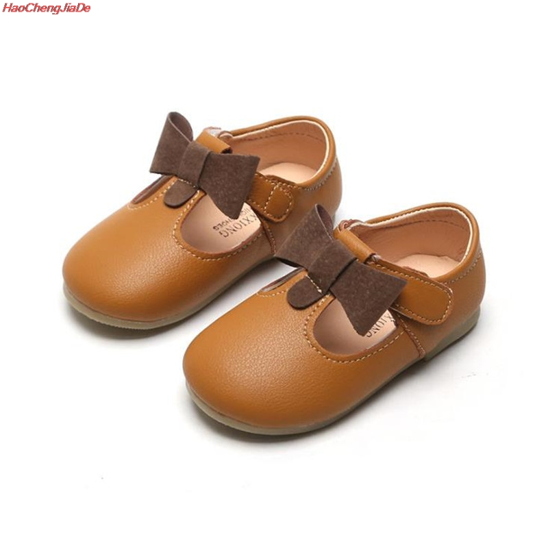 Toddler Kids Baby Girls Shoes Cute Bow Single Princess Casual Shoes Princess Shoes Soft Leather Shoes Solid Strap Flat