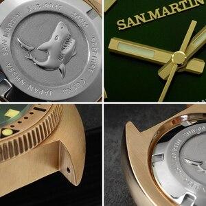 Image 5 - San Martin Abalone Bronze Taucher Uhren Männer Mechanische Uhr Leucht Wasserdicht 200M Lederband Stilvolle Uhren часы