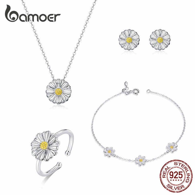 Bamoer Argento 925 Smalto Daisy Flower Neckalce Braccialetto Anello e Orecchini con perno per Le Donne Sterling Set gioielli d'argento ZHS171
