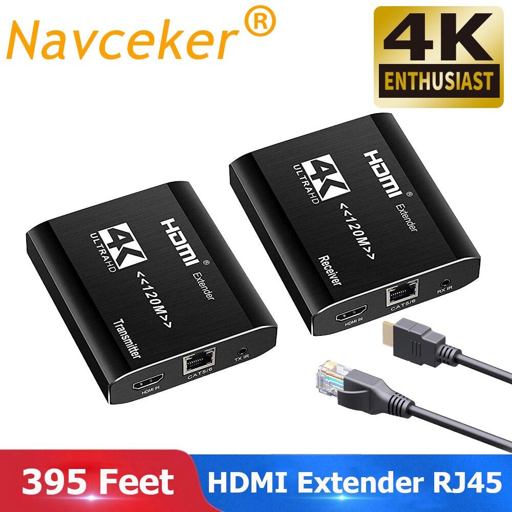 2019 Best 4K HDMI Extender Transmitter Receiver Over Cat5e/Cat6 RJ45 Ports HDMI Extender Loop 120m HDMI Extender IR For PS4 HDTV