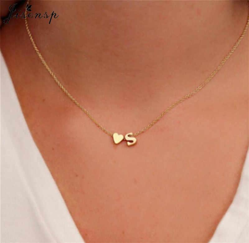 Jisensp タイニーハート初期二重層ネックレスペンダントパーソナライズされた初期珍味ネックレス女性 26 文字の名前の宝石の Gif