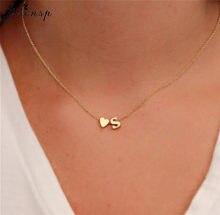Ожерелье Jisensp с подвеской в виде крошечного сердца, инициала, Двухслойное ожерелье, персонализированное изысканное ожерелье для женщин, 26 б...