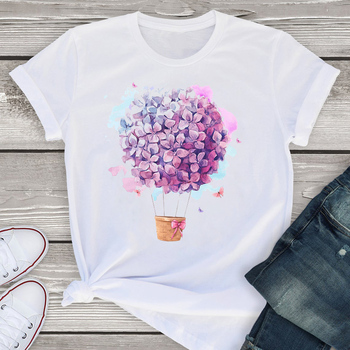 New Women T Shirts Floral Flower Print Short Sleeve Woman Tshirt Oversize Summer Clothes Fashion Graphic Tops Tee Female T-Shirt short sleeve floral graphic tee