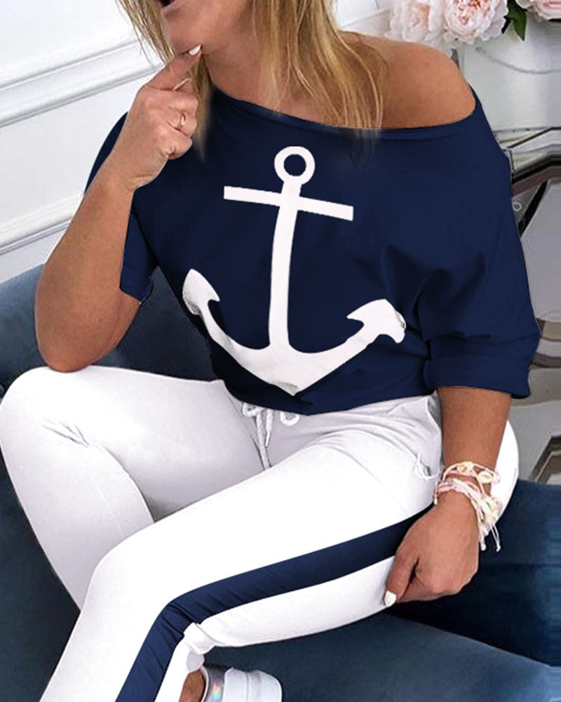 New Two-piece Tracksuit - Anchor Print Two-piece Blouse And Trousers - Lady's Casual Tracksuit