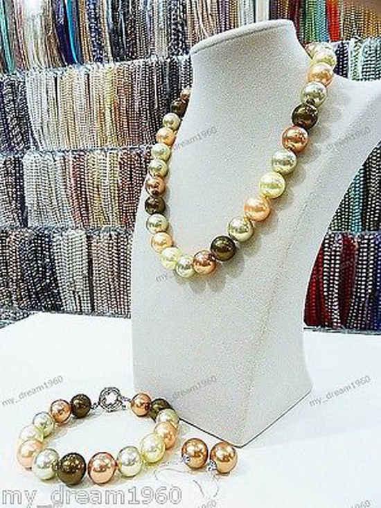 Heißer verkauf neue-Big 14mm Multi-Farbe Südsee Shell Perle Halskette 18 ''+ Armband Ohrringe set NEUE