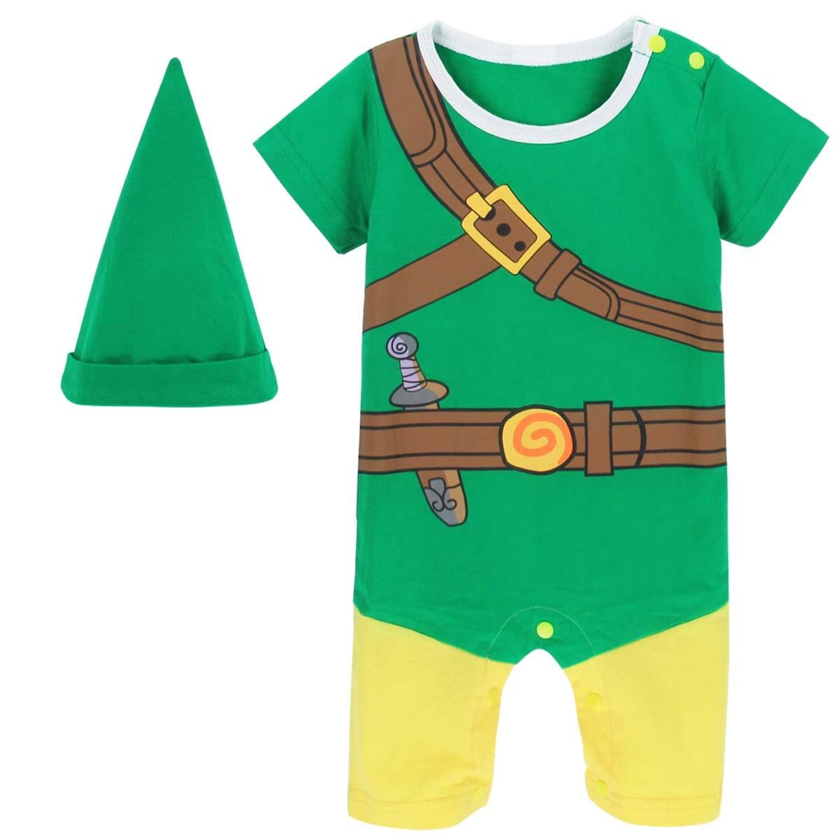 Bebê meninos zelda link traje macacão infantil cosplay playsuits macacão recém-nascido helloween traje para o menino verão roupas de inverno