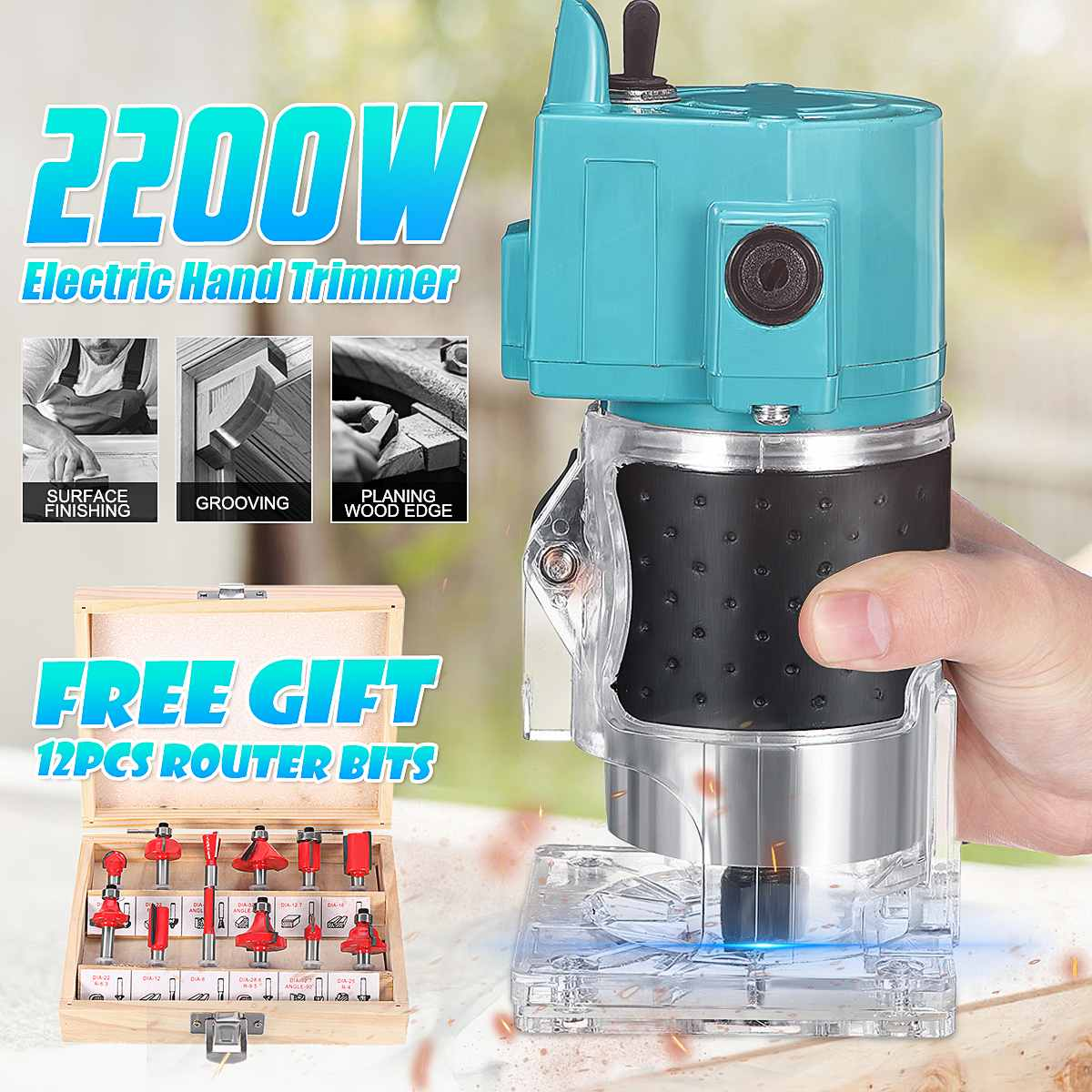 2200W Electric Trimmer Hand Wood Laminator+6.35mm 1/4'' Router Bit Set Joiner Woodworking Carving Trimming Machine Power Tool
