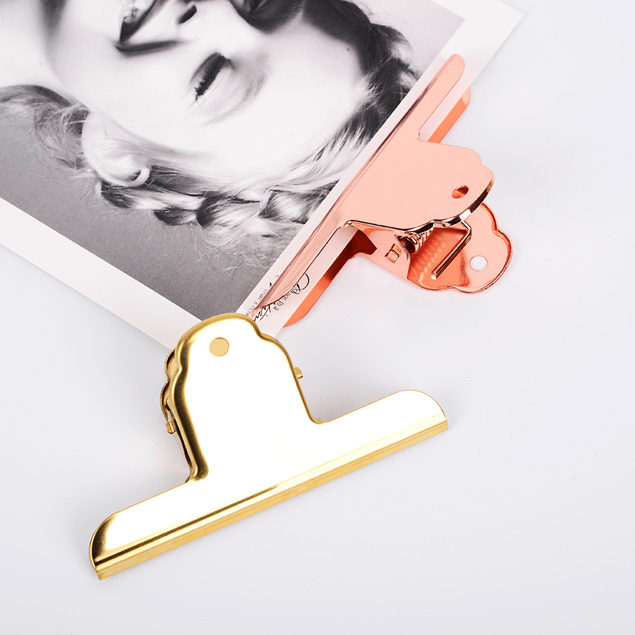 JIANWU 1pc Large Size  Simple Rose Gold Clip Creative Metal Clip Memo Clip Lovable Bill Folder Kawaii Office Stationery