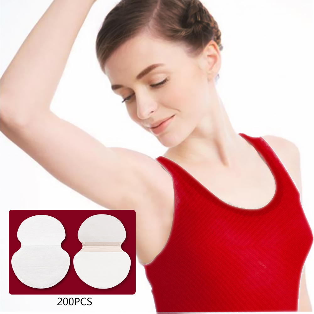200PCS(100 Packs) Summer Armpit Sweat Pads Underarm Deodorants Stickers Absorbing Disposable Anti Perspiration Cotton Patch